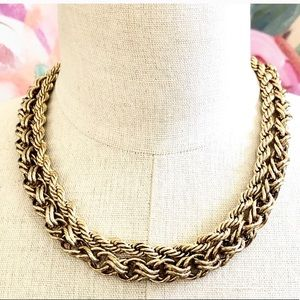 BANANA REPUBLIC double drama layered gold necklace